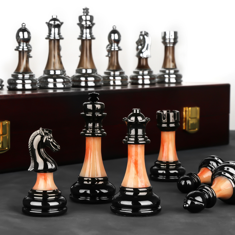 High-grade Chess Gift Box Set Solid Wood Folding Chessboard Imitation Jade Chess Piece 45cm*45cm*3cm Chess Set