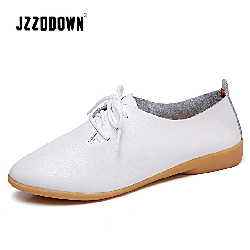 Genuine Leather Women Oxford Shoes Spring Casual Leather Shoes Ladies Flat Loafers Shoe 2018 Plus Size Mother shoe Fashion female loafers new lace mother flat shoes fashion shallow mouth ladies peas shoes tendon casual women leather shoes plus size