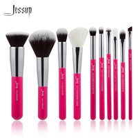 Jessup Brand Rose Carmin Silver Professional Makeup Brushes Set Make Up Brush Tools Kit Foundation Powder