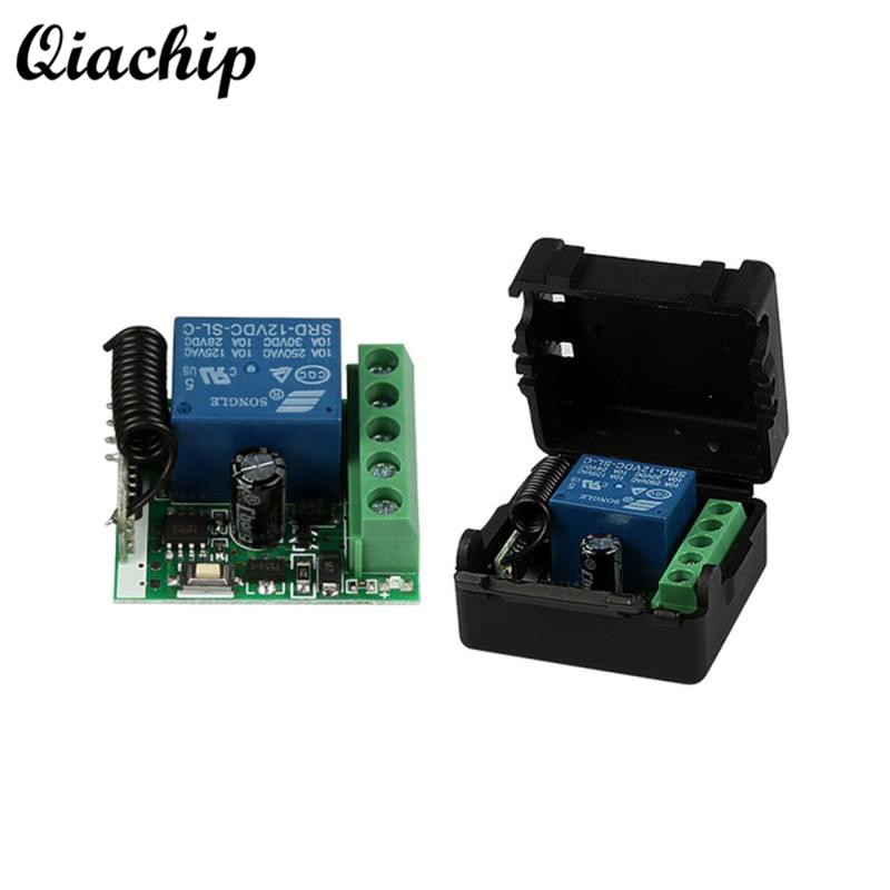 QIACHIP DC 12V 1CH 433MHz RF Wireless Remote Control Switch Relay RF Receiver Module For 433MHz Transmitter Learning Button Diy new 1ch 7v 12v 24v dc relay module switch wifi rf 433mhz wireless remote control timer switches for light work by phone