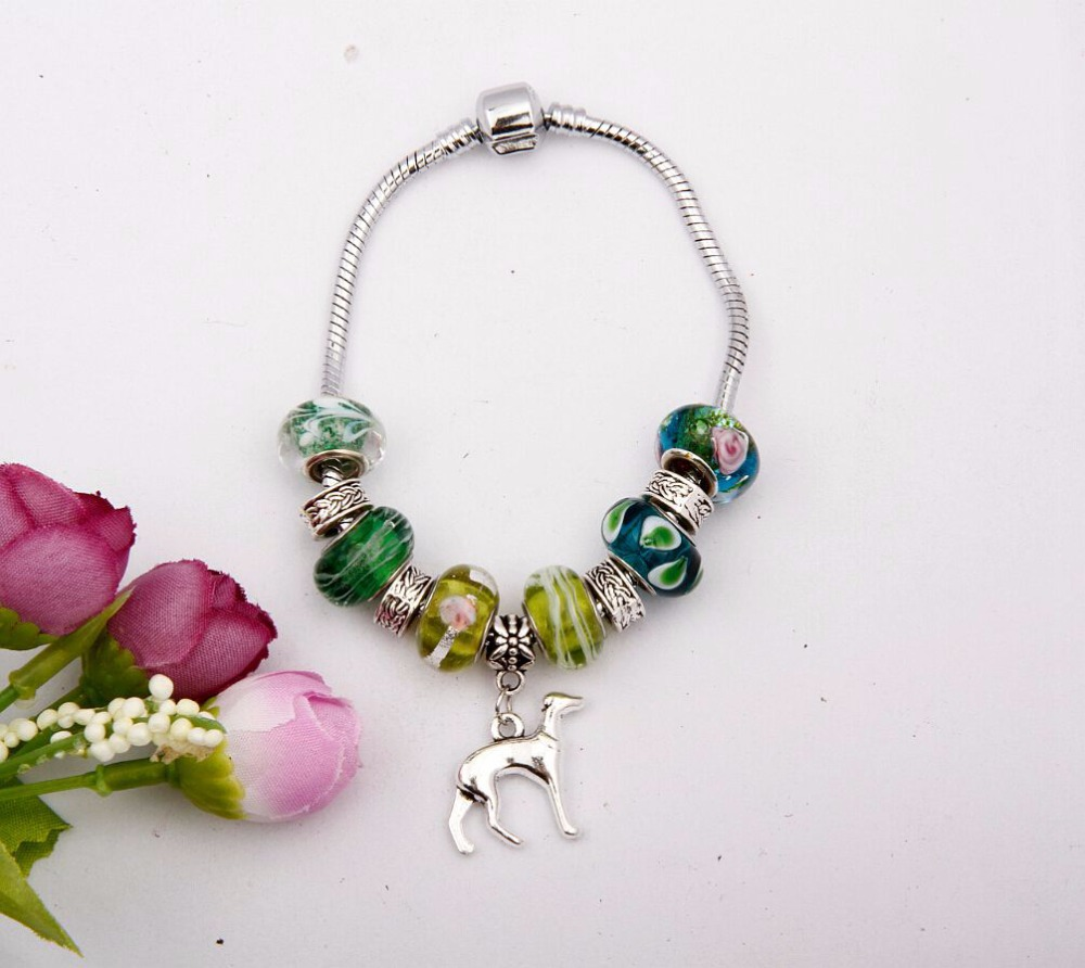 Fashion Jewelry 5pcs Retro Silver Greyhound Dog Charm Pendants Crystal Bead Snake Chain Bracelets&Bangle DIY For Women&Men E365