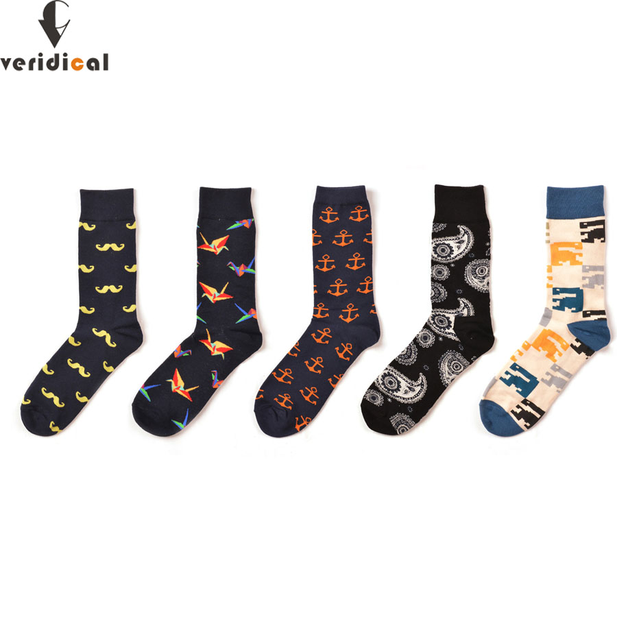 VERIDICAL Mens Funny Colorful Combed Cotton Socks Moustache Casual Happy Socks Beard Crane Dress Wedding Socks 5 Pairs/lot