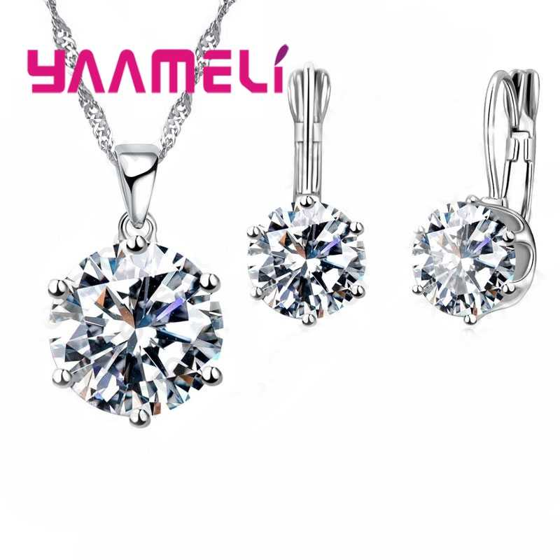 New Fashion 925 Sterling Silver Jewelry Sets For Women Wedding Collares Crystal Pendants Necklace Charms Hoop Earrings