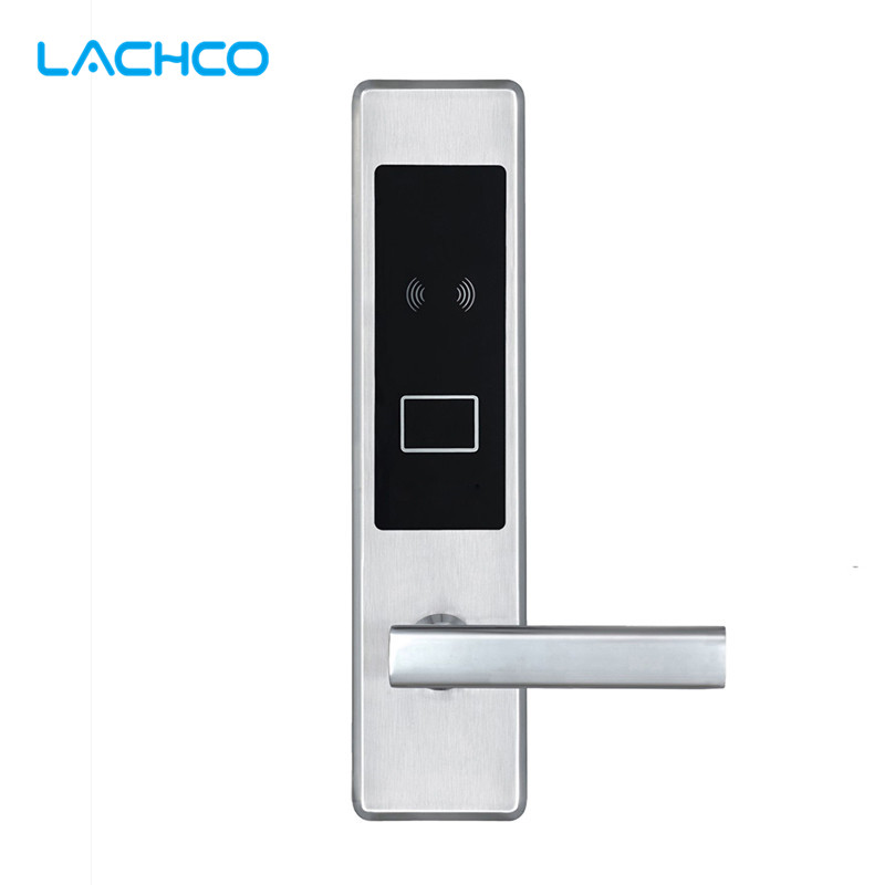 LACHCO Electric Door Lock Electronic RFID Card with Key for Hotel Home Apartment Office Latch with Deadbolt Smart Entry L16020BS lachco card hotel lock digital smart electronic rfid card for office apartment hotel room home latch with deadbolt l16058bs