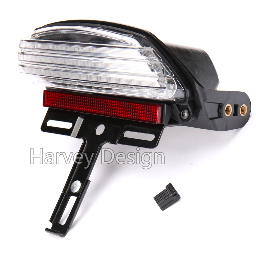White Tri-Bar Fender LED Tail Brake Light for Harley Dyna Fat Bob FXDF 2008 Up motorcycle tail tidy fender eliminator registration license plate holder bracket led light for ducati panigale 899 free shipping