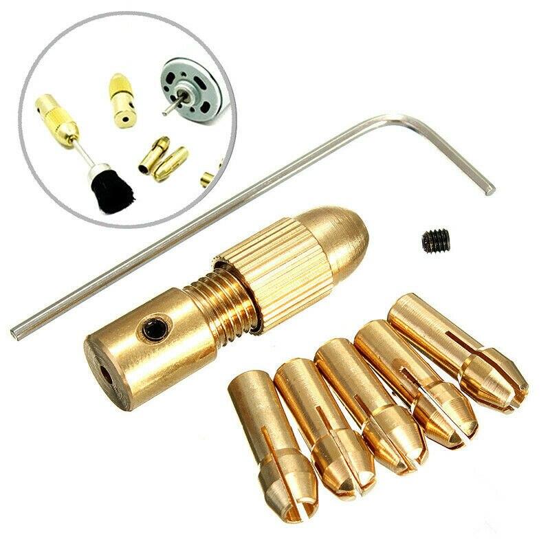 8PCS/LOT 0.5-3mm Mini Brass Grinder Drill Collet Chucks Micro Chuck For Twist Drill Set Fit 3.17mm Motor Shaft Tool Kits