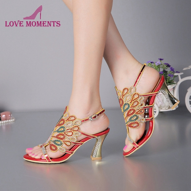 e87a1db27d Women Banquet Prom Party Shoes Summer Rhinestone Sandals Open Toe Chunky  Heel Strappy Wedding Shoes for Bride Red Black Color