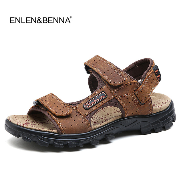 d37cbb460 Hot Sale 2018 New Fashion Summer Leisure Beach Men Shoes High Quality  Leather Sandals The Big Yards Men s Sandals Size 38-47