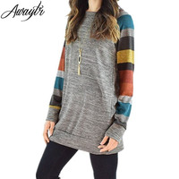 Awaytr 2017 Spring Autumn Women T Shirt O Neck Multicolour Long Sleeve Loose T Shirt Casual