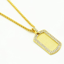 Фотография Hip Hop Zinc Alloy Dog Tag Necklace Iced Out Rhinestone Chain Necklace Punk Men