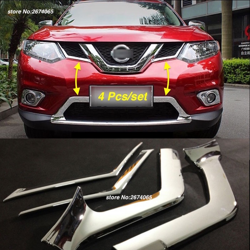 For 2014 2015 2016 Nissan X-Trail T32 Rogue Front Bumper Grille Grill Cover Trim X Trail XTrail ABS Car Styling Accessories 4pcs for nissan x trail xtrail t32 rogue 2014 2015 2016 abs chrome front engine machine grille upper hood stick lid trim lamp 1