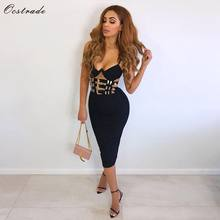 Ocstrade Nightclub Black Bandage Dress New Sexy 2018 Women Fashion V Neck Bandage Bodycon Dress Club Party Belted Bandage Dress(China)
