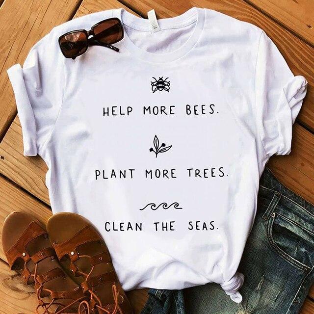 مساعدة أكثر النحل 90 ثانية الجمالية الجرافيك القمصان المتناثرة زائد حجم النساء النبات أكثر الأشجار لباس أبيض س الرقبة 100% القطن المحملات التي شيرت