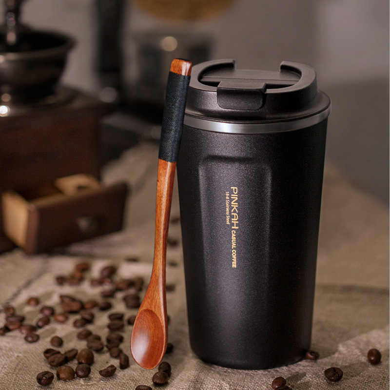 Pinkah 380 & 500ml Coffee Mug 304 Stainless Steel Thermo Cup Lid Car Water Bottle Vacuum Flasks Tumblers Travel Mugs Coffe Cup