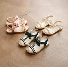 21-30 Little Kids Beach Shoes bow Girls Sandals 2018 Summer New Korean Flats  Princess Sandals Pearl Children s Student Sandals f464277b175e