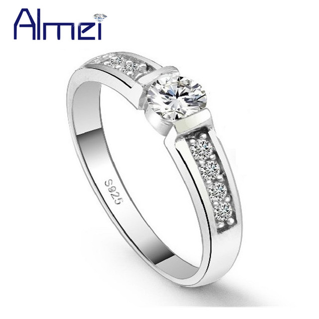 Almei Rings for Men/Women Wedding Vintage Ring Silver Color Love Anel Jewelry Ladies' Bijouterie Anillos Mujer With Stones J292P