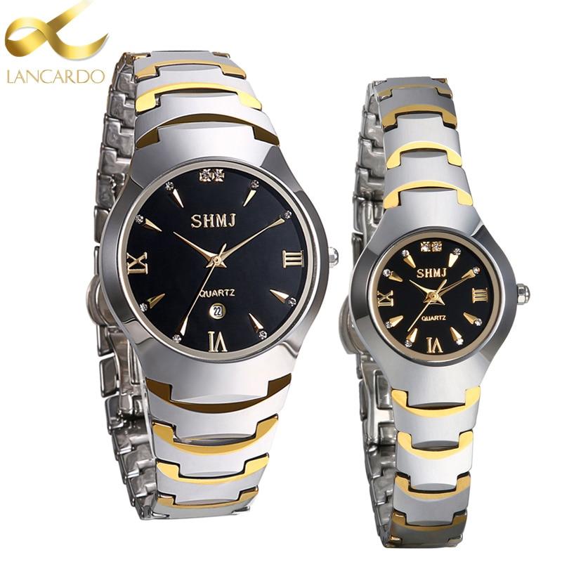 Tungsten Steel Wrist Watch Luxury Top Brand Lancardo Men's Watch Lovers' Business Quartz Watch Fashion Casual Sliver Women Watch