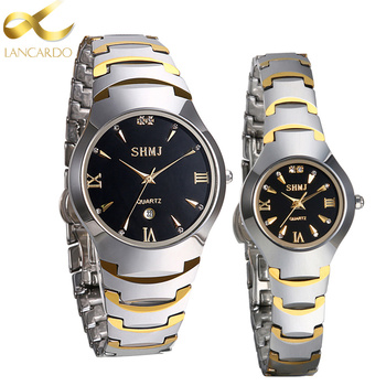 цена на Tungsten Steel Wrist Watch Luxury Top Brand Lancardo Men's Watch Lovers' Business Quartz Watch Fashion Casual Sliver Women Watch