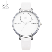 Shengke Brand Women Luxury Watches Female White Leather Wristwatch Mixmatch Dress Quartz Clock Ultra Thin Relogio Feminino 2017