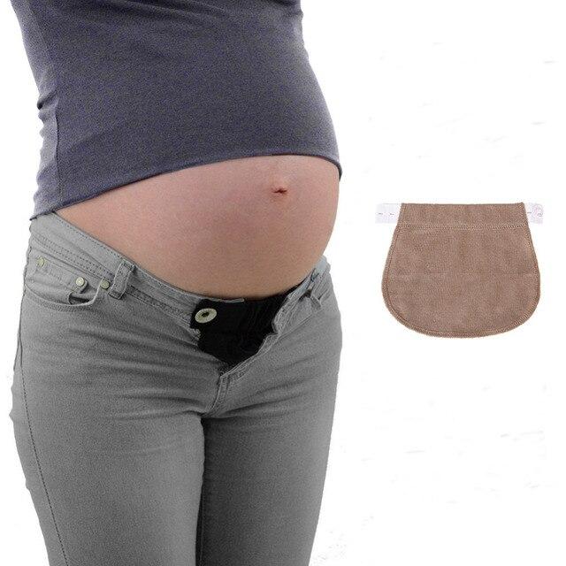 b56f491c1 Maternidad embarazo cintura cinturón extendido botón ajustable elástico  apoyo pantalones vaqueros extensor