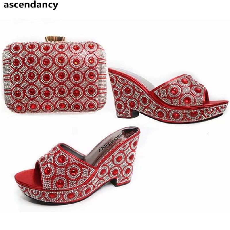 Rouge Bleu Chaussures rouge Ensemble or Couleur Avec Nigérian Italiennes Africain Correspondant Décoré Sac pourpre Femmes Et Strass vert XSq1qwU