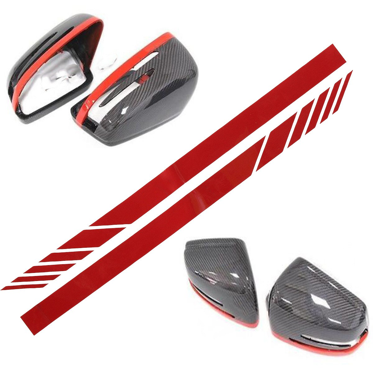 1pair Car Rear View Mirror Stripe Decal Sticker Vinyl For Benz W204 W212 W117 W176 Editi ...