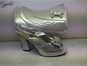 Hot sale silver party set African high heel sandal shoes and bag set GY38 heel height 7cm