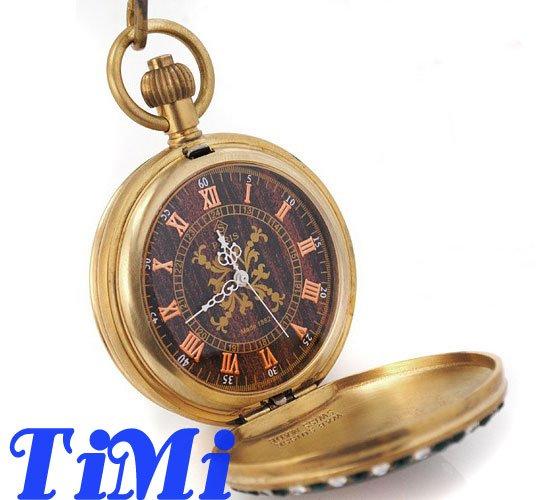 Медные антикварные карманные часы Механические ювелирные изделия художественный чехол с рисунком коричневый циферблат