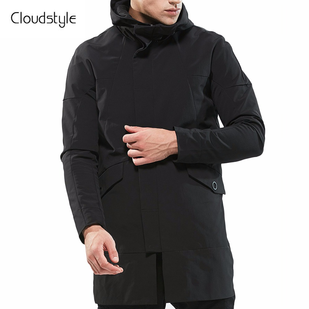 Cloudstyle 2018 Malel Zipper Vestes Hommes Mode Printemps Automne Solide Outwears Hommes Mi-Longue Unique Poitrine Capuche Vestes Cool