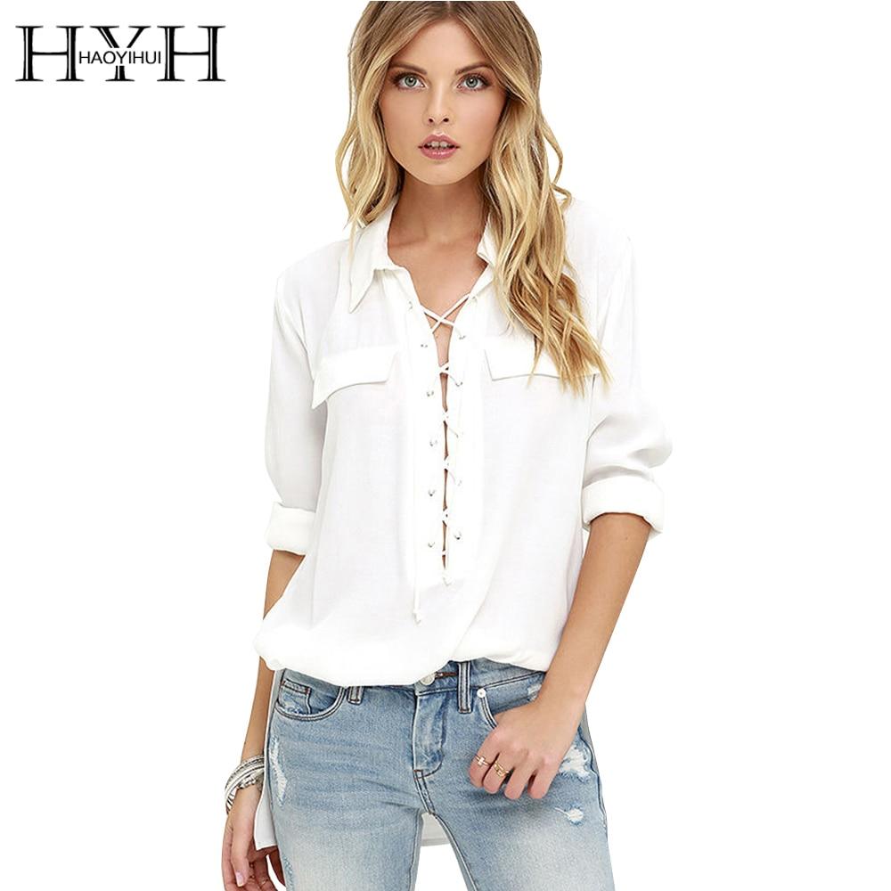HYH HAOYIHUI Women Blouse Autumn Solid Long Sleeve Side Split Lace up Blouse Basic Casual Streetwear