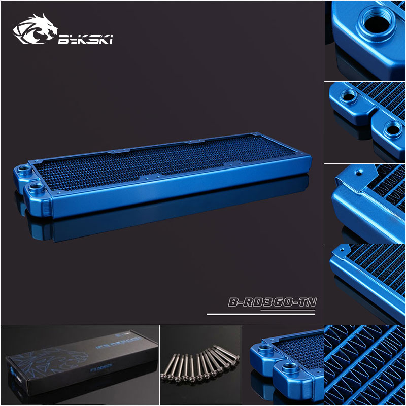 Bykski B-RD360-TN 360mm 3 x 12cm Copper Radiator Liquid Water Cooling Blue