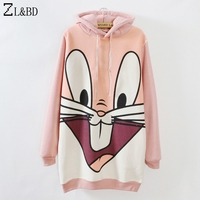 ZL&BD Women Spring Fleece Hooded Long Pullover Hoodie 2018 Cartoon bugs bunny Print Harajuku Sweatshirt Female Coat Bts ZA252