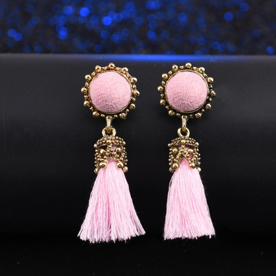 5 Colors Hot New Drop Earrings Fashion Summer Long Tassel Spherical Style Vintage Round Dangle Earrings Dropshipping JU31