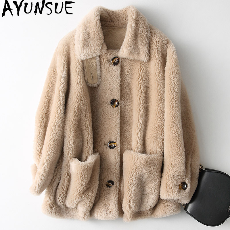 AYUNSUE Real Sheep Shearling Fur Coat 2019 Winter Jacket Women 100% Wool Coat Female Suede Liner Korean Jackets Abrigo Mujer MY
