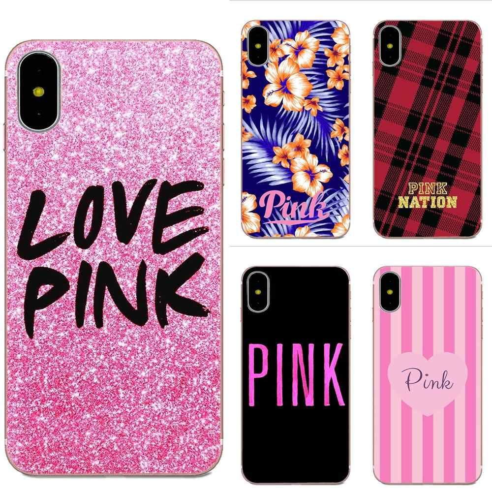 Для Apple IPhone X XS Max XR 4 4s 5 5C 5S SE 6 6 S 7 8 Plus мягкий TPU узор Розовый Victoria Secret Love Розовый