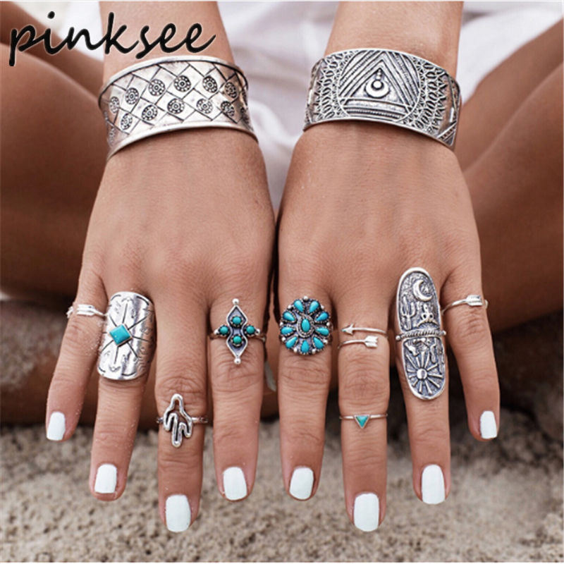 PINKSEE 9pcs/Set Mix Bohemian Rings Unique Carved Antique Silver Knuckle Ring for Women Gypsy Midi Anel Boho Beach Jewelry