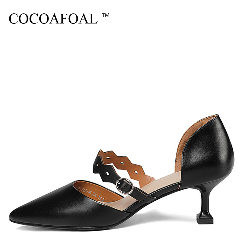 COCOAFOAL Woman White Mary Janes Shoes Black Fashion Sexy High Heels Shoes Party Buckle Strap Genuine Leather Wedding Pumps 2018 lovexss woman wedding mary janes black red genuine leather woman high heel shoes party patent leather pumps mary janes 2017