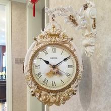 Домашнее искусство Двухсторонние настенные часы гостиная креативные европейские ретро немой кварцевые часы личность современные настенные часы