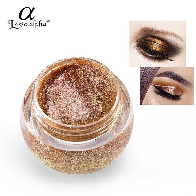 Love alpha 3D Glitter Eye shadow Palette Gel Metallic Powder Pigment Nude Eyeshadow Highlighter Shining Maquiagem Brand Makeup
