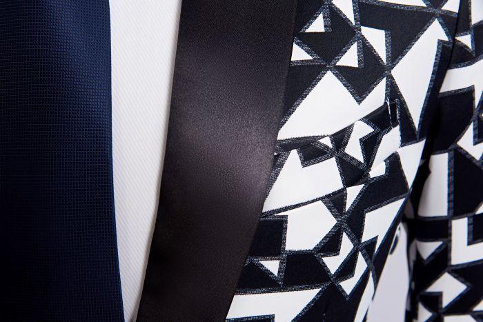 Black White Triangle Pattern Blazer Slim Fit Designs  3
