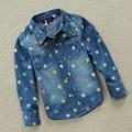 Algodón Ocasional de La Manga Completa Da Vuelta-abajo 2016 Primavera Otoño Denim Blue Boys Camisas Chemise Garcon Niños camisa hawaiana niños
