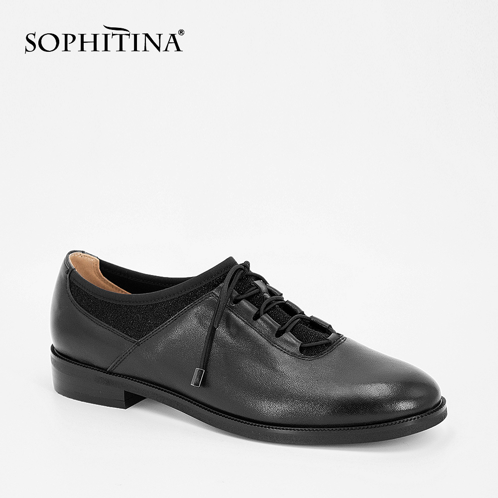 SOPHITINA Casual Woman Flats Genuine Leather Round Toe Low Heels Shoes Patent Leather Lace-up Lady Flats British Style Shoes p22 beffery 2018 spring patent leather shoes women flats round toe casual shoes vintage british style flats platform shoes for women
