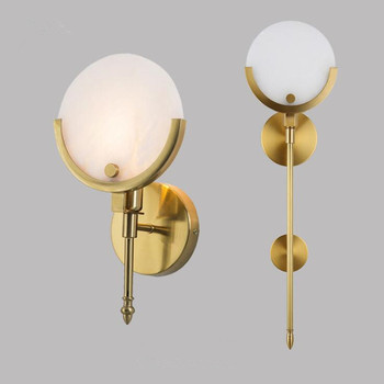 Luminaire Nordic Modern Simple Round Marble LED Wall Lamp American Study Bedside Wandlamp Wrought Iron LED Wall Light Fixture
