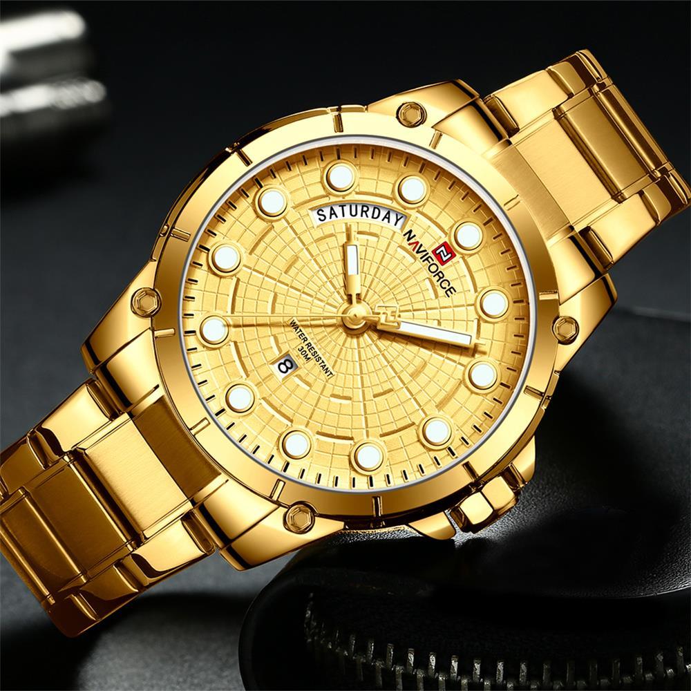 NAVIFORCE Luxury Brand Men Sport Watches Mens Quartz Analog Clock Man Military Waterproof Full Steel Watch Men relogio masculino analog watch
