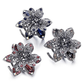 Retro Mini Butterfly Flower Hair Claw Clip Headband For Lady Girls Women Hairpin Crystal Hairpins Crab Clamp metal rhinestones hair clip vintage bronze plating butterfly hair claw retro flower hairgrip women hair jewelry
