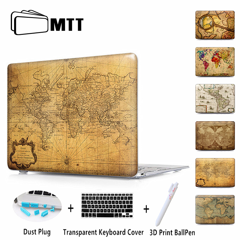 MTT World Map Matte Cover For Apple Macbook Air 13 Case Pro 13 15 Retina With Touch Bar for Macbook 11 12 Laptop Case Sleeve