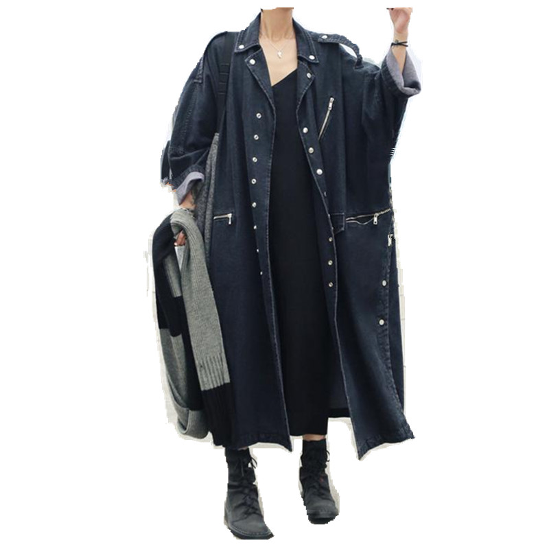 Women Oversize Split Loose Jeans Denim Coat Long Coat Windbreaker Female Overcoat Autumn   Trench   Coats