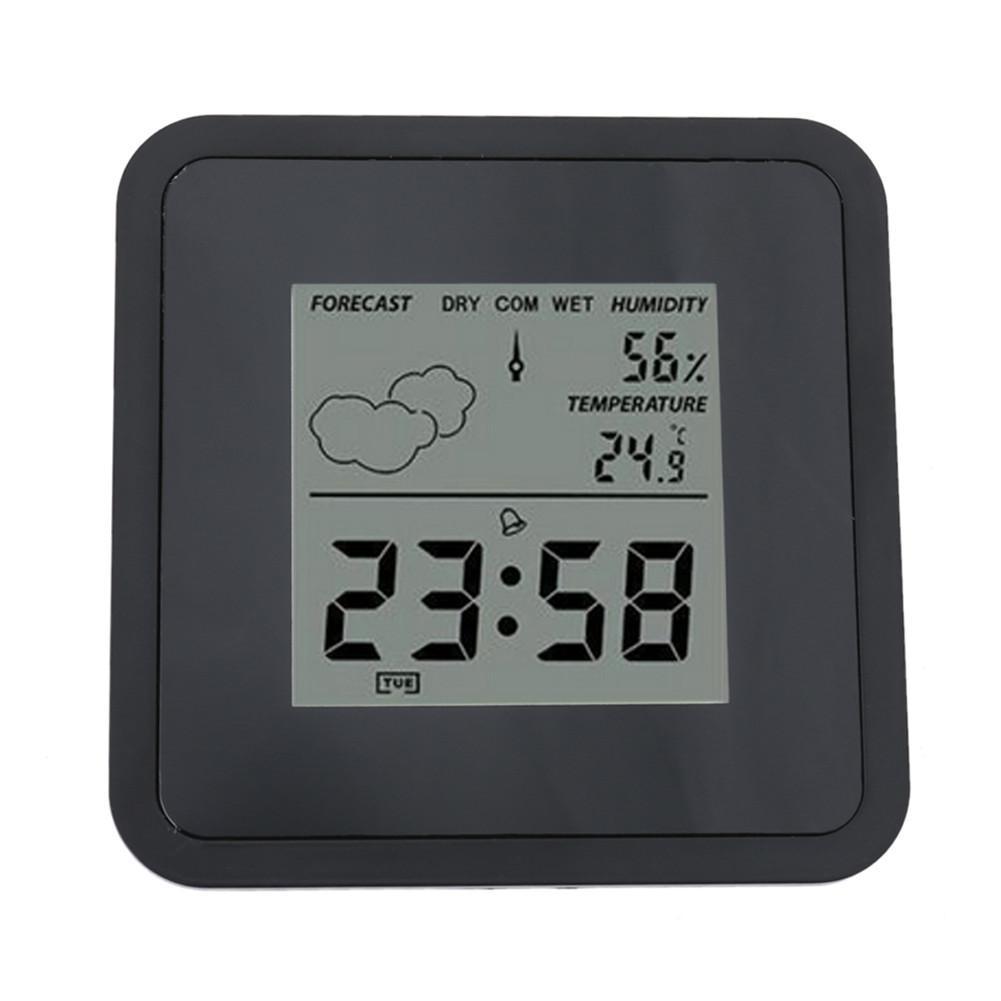 Indoor Temperature Humidity Clock Multi-Function Electronic Thermometer Hygrometer Digital Shower Calendar Table Alarm Clock