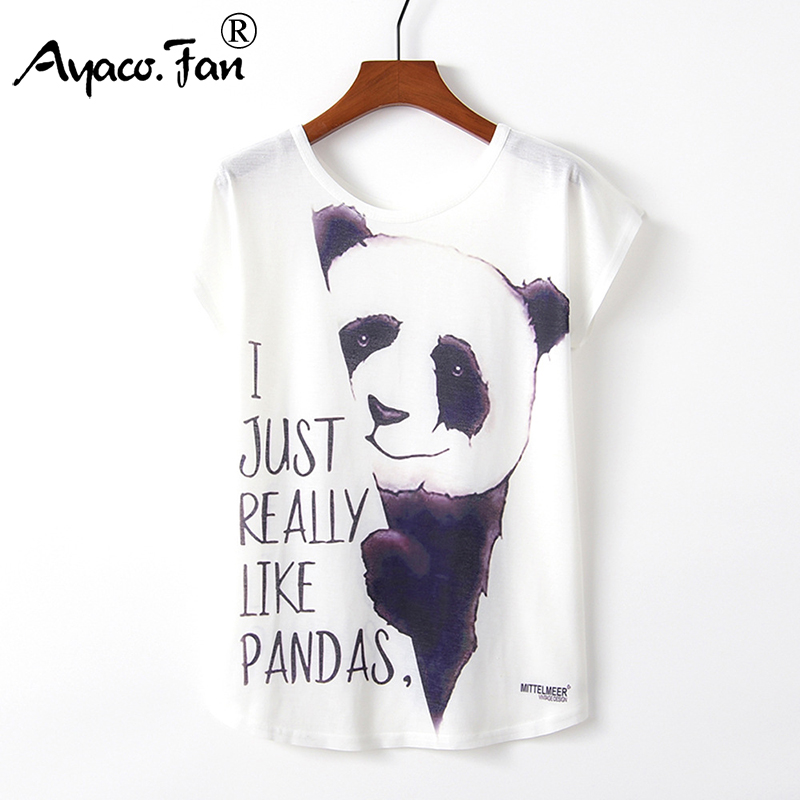 Summer Women T-Shirts 2019 New Harajuku Kawaii Cute Style Panda Unicorn Letter Print Loose T-Shirt Casual Short Sleeve Tops Tees
