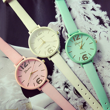 Women's Geneva Candy Jelly Color Faux Leather Quartz Analog Dress Wrist Watch  6XZP